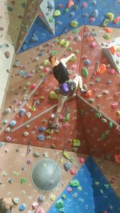 Syndi storming up the comp wall